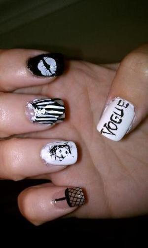 madonna, corset, fishnet, kissy, vogue black and white nails