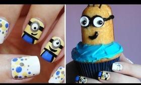 Minion Nail Art + Minion CUPCAKES!!!
