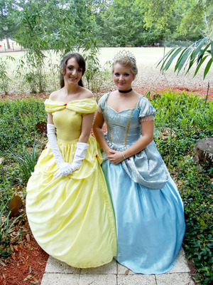 Belle and Cinderella Hair and Makeup by me. :)