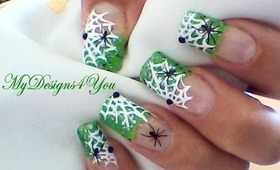 Spider Webs with a Toothpick, Green Nail Art Tutorial 2012.- ♥ MyDesigns4You ♥