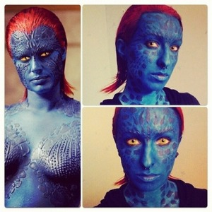 Mystique makeup I did for Halloween. It took two hours to make this on myself.
