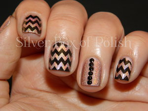 Stamped chevrons and a studded accent nail.