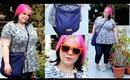 Eyelash Print Peplum, 8bit Sunnies & a Purple Handbag!
