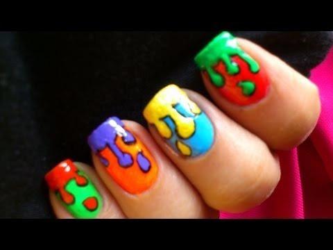 dripping paint nail art design  colorful tutorial nail
