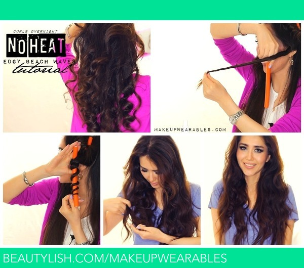 No Heat Selena Gomez Curls Tutorial Video Heatless Beach