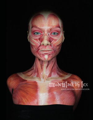 Based in body paint, shaded and detailed with blush.