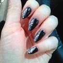 Dark Nails with Glitter Stiletto nails