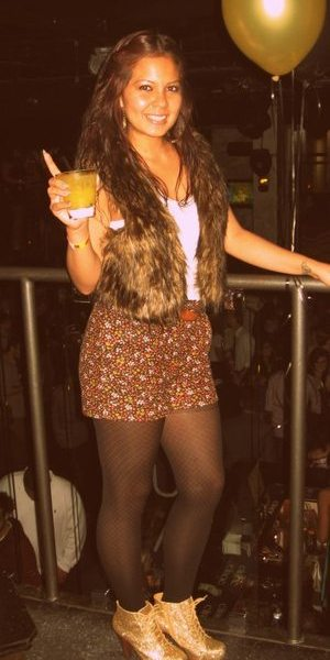 Fur vest from Heritage, Plain white tank, shorts from Marshalls, Tights are Betsey Johnson, laced Booties from heartbreaker