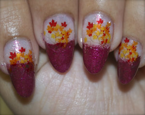 See the video Tutorial @ https://www.youtube.com/watch?v=ADu9L7nmZa4 For more pics visit http://www.gorgeousnailschannel.com/2014/10/fall-leaves-nail-art-using-water-decals.html  Follow me on :-  YouTube : https://www.youtube.com/user/SuperGorgeousnails  Blog : http://www.gorgeousnailschannel.com  Facebook : https://www.facebook.com/SuperGorgeousNails  Twitter : https://twitter.com/DemiNails123  Pinterest: http://www.pinterest.com/deminails123/