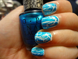 OPI Turquoise Shatter over OPI Alpine Snow. Love this combo. Sorry about my shoddy application here.