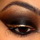 Black Smokey Eye with Gold Liner