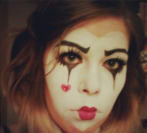 My take on Harlequin make-up, Done for a Halloween party