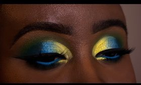 Blue, Green and Yellow Cut Crease