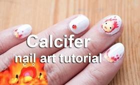 Calcifer nail art tutorial | Howl's Moving Castle