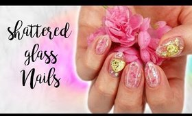 How To Shattered Glass Gel Nails | Valentine's Day 2018 ♡