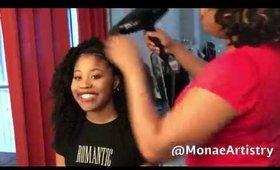 Celeb Hair Stylist Monae Everett Styles Dominique Fishback for NaturallyCurly.com