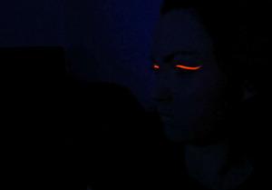 UV Orange eyeliner under a blacklight!