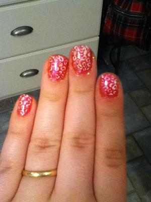 First time using the Konad stamper. Hot pink with leopard print nails.