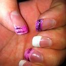 glitter and white nails