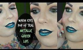 Warm Eyes | Pop of Teal & Metallic Green Lips