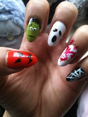 These are my Halloween nails from last year! Was so much fun to do. My fave is Frankenstein. Thinking of just blood splatter this year though. Hmm
