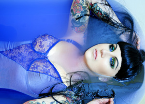 Using Sugarpill Cosmetics and MAC Cosmetics (mac aqualiner). Water was pigmented with my Wolfe Face Art & FX purple face paint. (Model Brooke Barker. Photo by Shannon Brooke Imagery. Makeup by Jennifer Corona