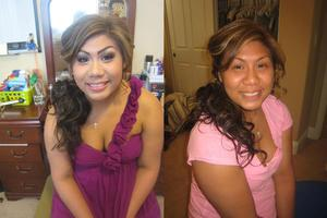 Nicole before and after her Senior ball makeup