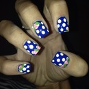 Blue Floral Polka Dot Nails