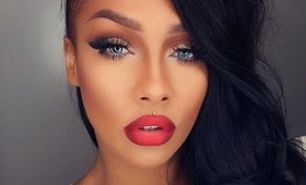 HOLIDAY GLAM, RED OMBRE LIPS AND GOLD GLITTER EYES