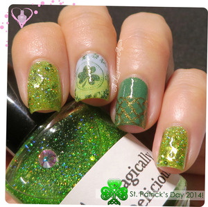 St. Patrick's Day inspired mani on the blog: http://www.alacqueredaffair.com/St-Patrick-Day-2014-34368765  Polishes used: ♥ Girly Bits Magically Delicious ♥ A England Dragon ♥ A England Holy Grail (revamped) ♥ Essence Cosmetics Singapore Sure Azure ♥ Essence Bashful ♥ Essence One Kiwi A Day