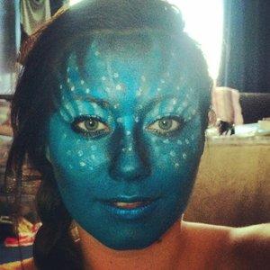Avatar makeup using Grimas makeup