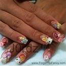 3D nail art, candy, fruits, and hello kitty