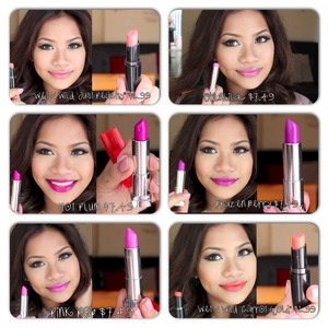 Maybelline color vivid, color whisper,  and wet n wild megalast lipstick. Haul video with swatches is on my channel 😊 youtube.com/makeupbyritz