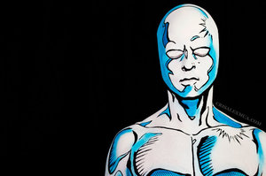 Body paint recreating Ron Lim's Silver Surfer issue #20