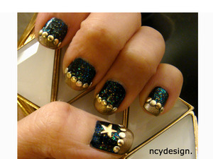 Using Nail artist metallic accents, Loreal pro manicure nail polish in afterhours, Pure ICE nail polish in Totally Amp