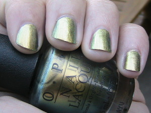 """I love this nail polish!! It's """"Just Spotted the Lizard"""" by OPI. I've heard it's a dupe for Chanel """"Peridot"""" too! Haha my dad even complimented me on them :D"""