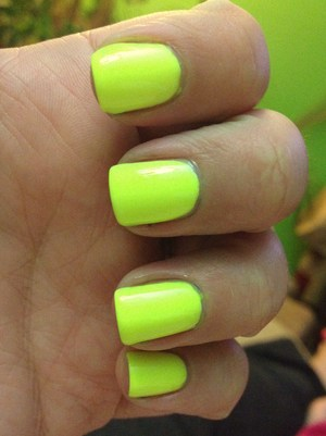 Such a nice neon!!! 3 coats over white :) http://polishmeplease.wordpress.com