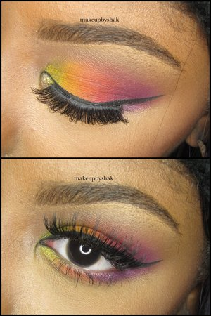 Here's an up close shot of my eye makeup! All colors are from the coastal scents creative me 1 palette!