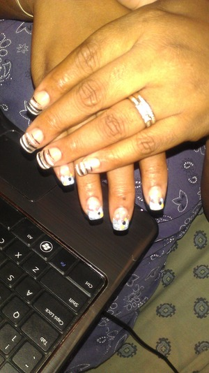 CND CLEAR ACRYLIC, Black strips and color dots