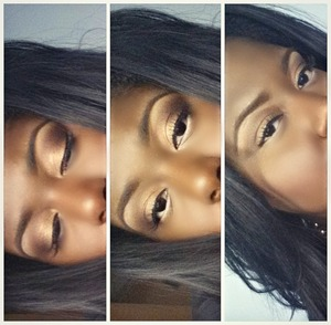 """Eyeshadow colors are a combination of MAC Bronze on my lids. """"Peanut butter"""" brown, Burnt Orange, & a light blend of Black in my crease. On the brows I used Lorac's Dark Brown brow pencil & defined with MAC NW50 & NC50 concealer.... Lower lids I lined my waterline with NYX Wonder Pencil in Dark & set with a white eyeshadow."""