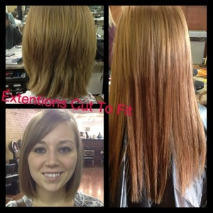 Four different sections of extentions placed horizontally and parallel to each other then trimmed to fit layers of her short haircut.