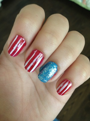 I did these for the 4th of July! They're very messy because I was rushing. I did these at the last second. I wasn't even planning on doing my nails.