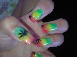 green, yellow and red nails  with weed!
