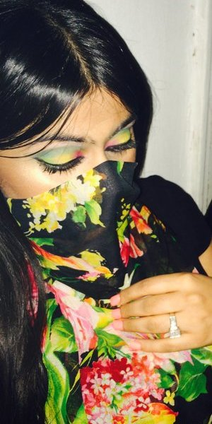 I love this look with the flower hijab/ face cover. These are my real lashes I wish I added false ones for a more dramatic eid look