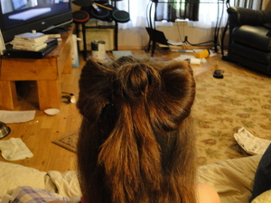 """finally got a chance to try the """"hair bow"""". its not as neat as i wanted but not bad for a first try"""