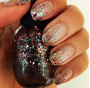 Glitter fade on nude nails