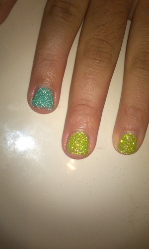 just did some gel nails for my friend.. came out fantastic and super glittery!