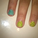 green and blue glitter gel nails