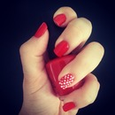 Classic red Nails and Polka Dot Accent Nail
