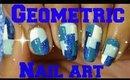 EASY BLUE GEOMETRIC NAIL ART TUTORIAL